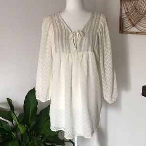 Anthro One Sept sparkle boho long sleeve blouse